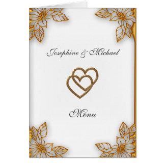 Menu de mariage d'or blanc carte de vœux