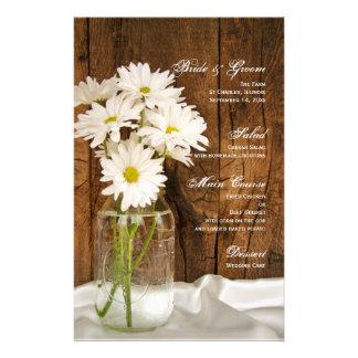 Menu de pot de maçon et de mariage campagnard de papier à lettre customisable