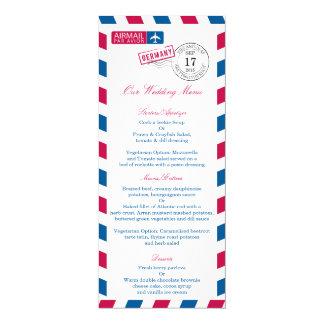 Menu de réception de mariage de par avion de carton d'invitation  10,16 cm x 23,49 cm
