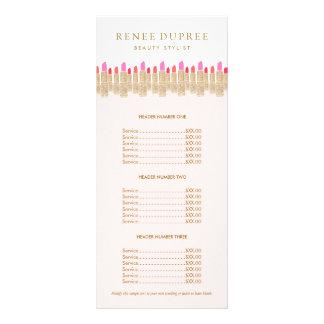 Menu de service de maquilleur de rose de rouge à carte double en  couleur