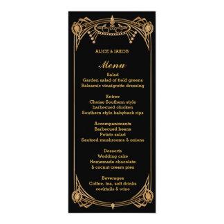 Menu de style de Gatsby d'art déco, thème d'art Carton D'invitation 10,16 Cm X 23,49 Cm