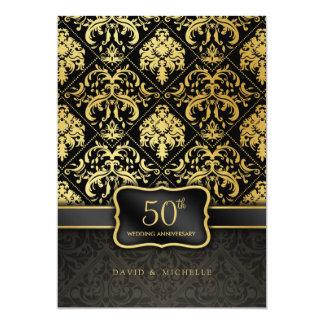 Menu élégant d'anniversaire de mariage de noir et carton d'invitation  12,7 cm x 17,78 cm