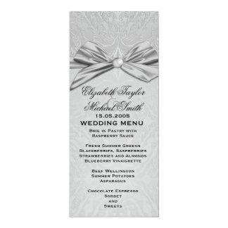 Menu élégant de mariage damassé de ruban argenté carton d'invitation  10,16 cm x 23,49 cm