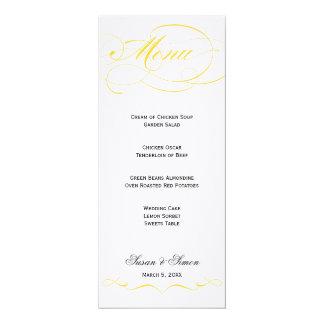 Menu élégant de mariage de manuscrit - jaune carton d'invitation  10,16 cm x 23,49 cm