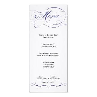 Menu élégant de mariage de manuscrit - marine carton d'invitation  10,16 cm x 23,49 cm