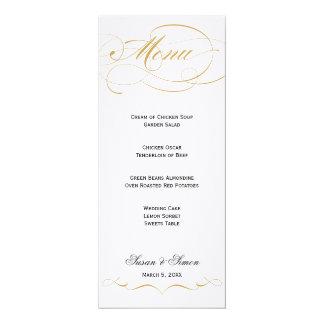 Menu élégant de mariage de manuscrit - or carton d'invitation  10,16 cm x 23,49 cm