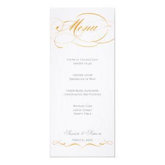 Menu élégant de mariage de manuscrit - orange carton d'invitation  10,16 cm x 23,49 cm