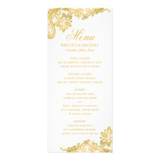 Menu élégant de mariage de motif de dentelle d'or double carte en  couleur
