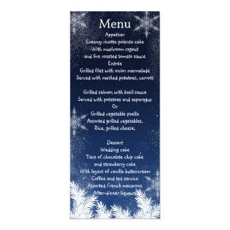 Menu élégant de mariage d'hiver de flocon de neige carton d'invitation  10,16 cm x 23,49 cm