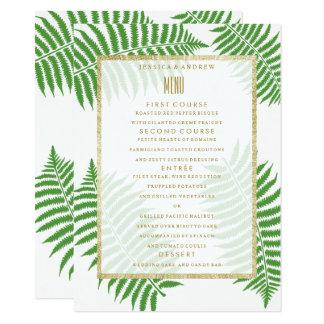 Menu élégant élégant de mariage de fougère carton d'invitation  11,43 cm x 15,87 cm