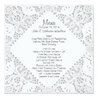 Menu fait sur commande de mariage de sembler blanc carton d'invitation  13,33 cm