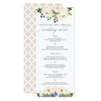 Menu floral bleu et crème de Portofino de mariage Carton D'invitation 10,16 Cm X 23,49 Cm