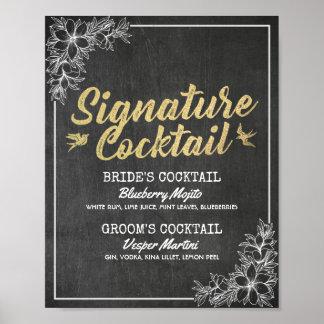Menu floral de boissons de signature de mariage de poster