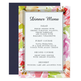 Menu floral de dîner de mariage d'Adeline Carton D'invitation 12,7 Cm X 17,78 Cm
