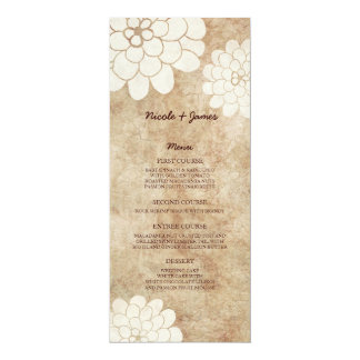 Menu floral de mariage de dahlia blanc vintage carton d'invitation  10,16 cm x 23,49 cm