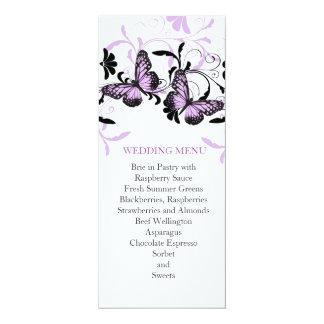 Menu floral élégant de mariage de papillon de carton d'invitation  10,16 cm x 23,49 cm