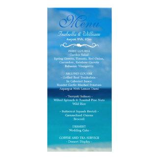 Menu floral élégant de mariage d'été de plage double cartes customisées