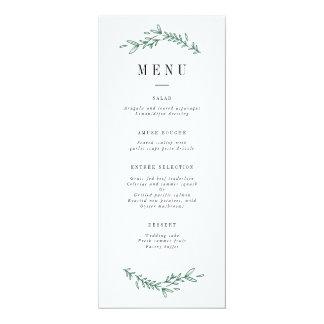 Menu floral élégant rustique de monogramme carton d'invitation  10,16 cm x 23,49 cm