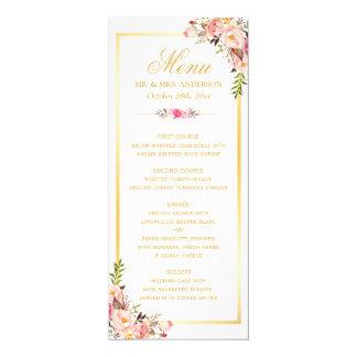 Menu floral rose chic élégant de mariage de cadre carton d'invitation  10,16 cm x 23,49 cm