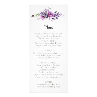 Menu floral violet | de lavande pourpre mauve