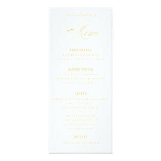 Menu formel de dîner de mariage élégant jaune d'or carton d'invitation  10,16 cm x 23,49 cm