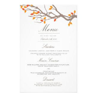 Menu heureux de dîner de mariage de branches prospectus 14 cm x 21,6 cm