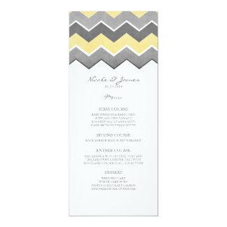Menu jaune et gris de mariage de zigzag carton d'invitation  10,16 cm x 23,49 cm