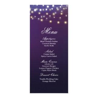 Menu léger de dîner de mariage de soirée de carton d'invitation  10,16 cm x 23,49 cm
