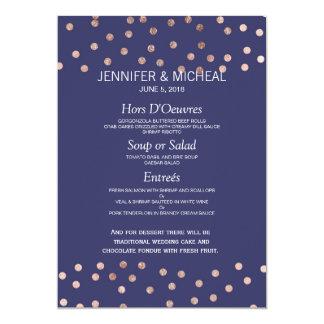 Menu léger de mariage de bleu marine de pois rose carton d'invitation  12,7 cm x 17,78 cm