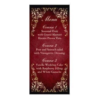 menu majestueux de mariage d'or rouge rustique