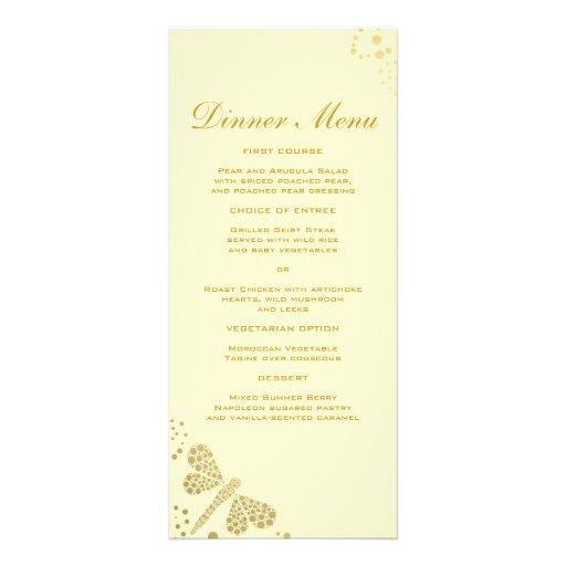 Menu mince élégant de dîner de libellule d'ivoire  motif pour double carte