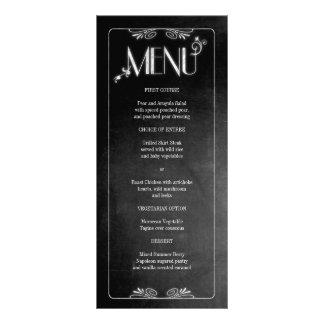 Menu mince élégant de dîner de tableau noir carte double en  couleur