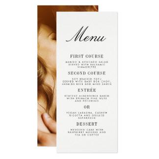 Menu minimaliste de mariage de photo de carton d'invitation  10,16 cm x 23,49 cm