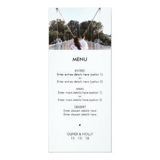 Menu moderne de mariage de modèle photo carton d'invitation  10,16 cm x 23,49 cm