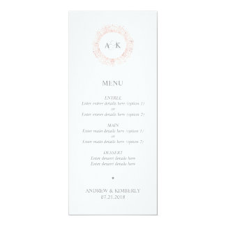 Menu monochrome simple de mariage de cercle carton d'invitation  10,16 cm x 23,49 cm