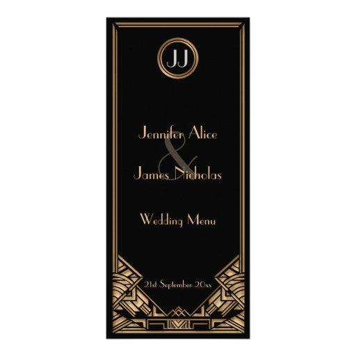 Menu noir de mariage de style de Gatsby d'art déco Cartes Doubles Customisables
