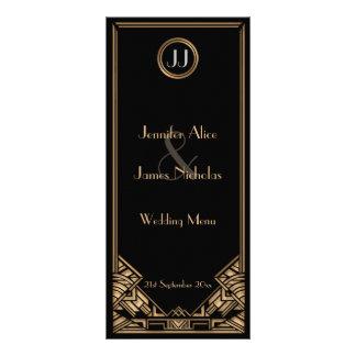 Menu noir de mariage de style de Gatsby d'art déco Motif Pour Double Carte