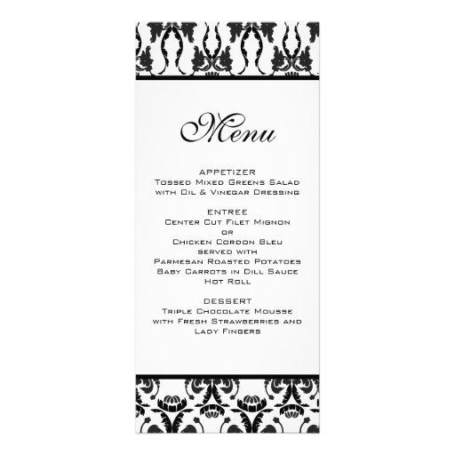 Menu noir et blanc de mariage damassé double carte