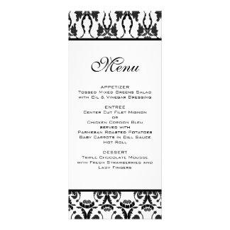 Menu noir et blanc de mariage damassé modèle de double carte