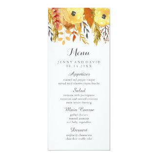 Menu pour aquarelle de mariage de automne carton d'invitation  10,16 cm x 23,49 cm