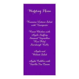 Menu pourpre violet de mariage carte double en  couleur