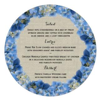 Menu rond bleu d hortensia et de toile de jute
