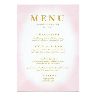Menu rose moderne de dîner d'aquarelle carton d'invitation  12,7 cm x 17,78 cm