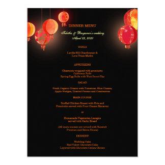 Menu rouge de fantaisie de dîner de mariage de carton d'invitation  16,51 cm x 22,22 cm