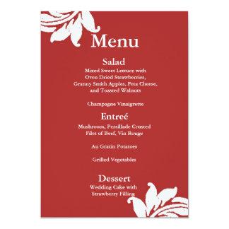 Menu rouge de mariage damassé carton d'invitation  12,7 cm x 17,78 cm