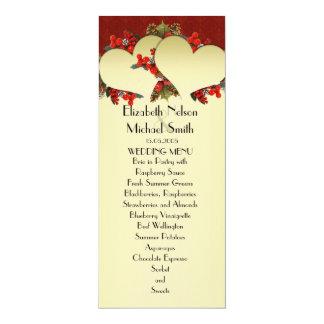 Menu rouge de mariage de coeurs d'or de Noël Carton D'invitation 10,16 Cm X 23,49 Cm