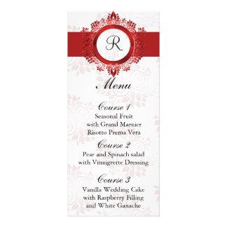 menu rouge de mariage de monogramme doubles cartes