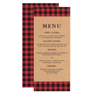 Menu rouge et noir rustique de pays de plaid de carton d'invitation  10,16 cm x 23,49 cm