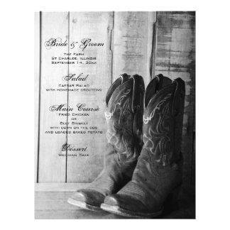 Menu rustique de mariage campagnard de bottes prospectus avec motif