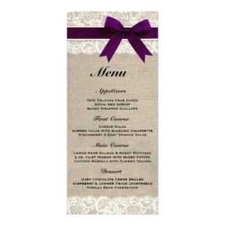Menu rustique de mariage de toile de jute et de pr carte double customisable